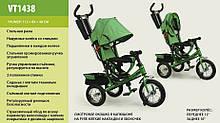 Велосипед коляска трехколесный VT1438 надувн. колеса со спицами с родительской ручкой