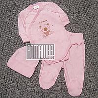 Летний с дырочками р 56 0-1 мес костюмчик комплект на выписку для новорожденной девочки МУЛЬТИРИП 4763 Розовый