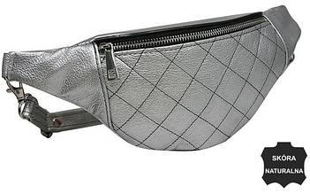 Женская сумка на пояс из кожи  Always Wild KS05D silver