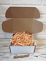 Коробка белая 205*205*125 мм для подарка с персиковым наполнителем , для сувенира, для мыла, косметики