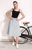 Свободная летняя юбка-трапеция в полоску синяя