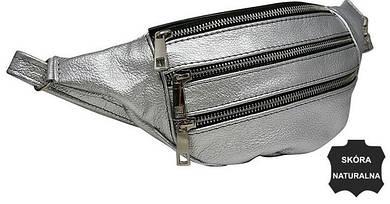 Женская кожаная поясная сумка, бананка Always Wild KS04D серебро