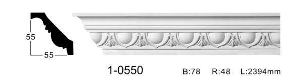 Карниз потолочный с орнаментом Classic Home 1-0550, лепной декор из полиуретана