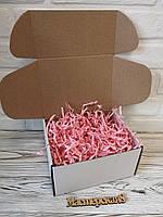 Коробка белая 205*205*125 мм для подарка с розовым наполнителем , для сувенира, для мыла, косметики