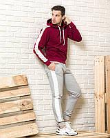 Мужской спортивный костюм (бордовая худи с лампасами  и серые  спортивные штаны с лампасами)