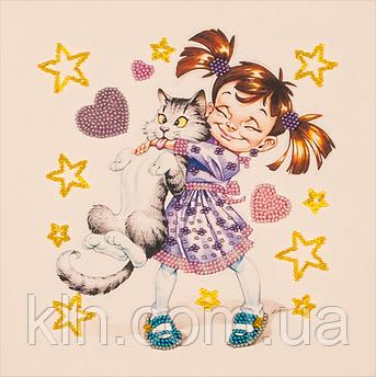 Набір для вишивання бісером FLF-014 Дівчинка з котом 20*20 Чарівна країна якісний