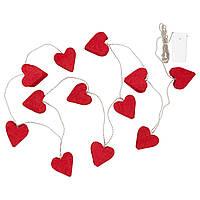 IKEA STRALA Гирлянда, 12 светодиодов, батарейках, сердце красное  (704.091.80)