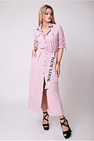 Платье-рубашка с вышивкой на поясе  42 по 50 размер