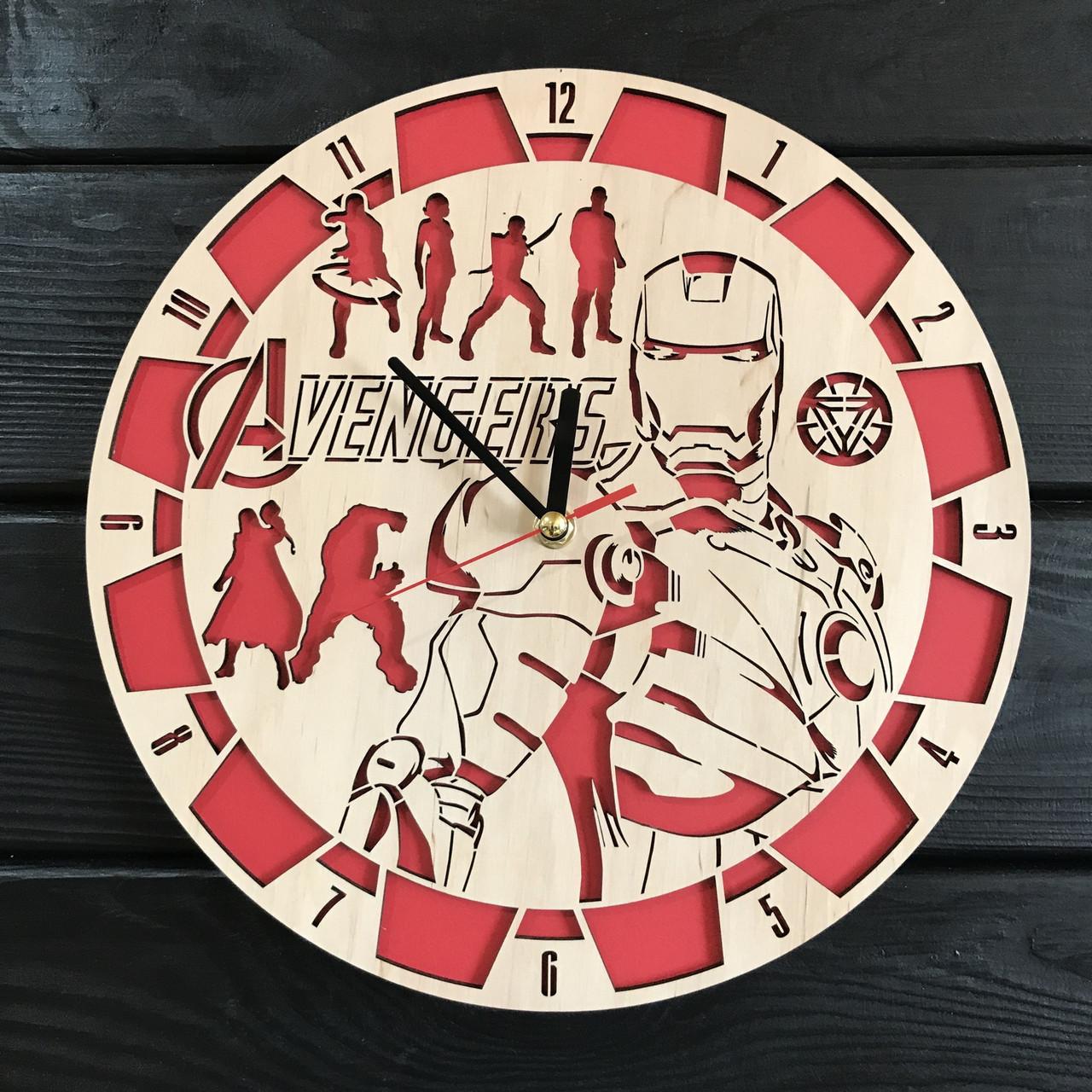 Круглые деревянные часы на стену «Мстители»