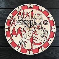Круглые деревянные часы на стену «Мстители», фото 1
