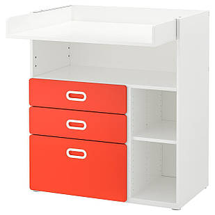 IKEA STUVA/FRITIDS Пеленальный столик с ящиками, белый, красный  (992.531.64)