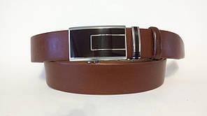 Шкіряний ремінь автомат 40 мм рудий темно-коричнева пряжка