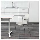 IKEA LEIFARNE Стул с подлокотниками, белый, Дитмар хром  (391.278.09), фото 2