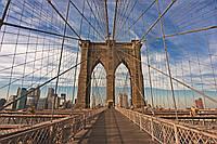 Фотообои флизелиновые 3D город Нью-Йорк 375х250 см Бруклинский мост (MS-5-0005)
