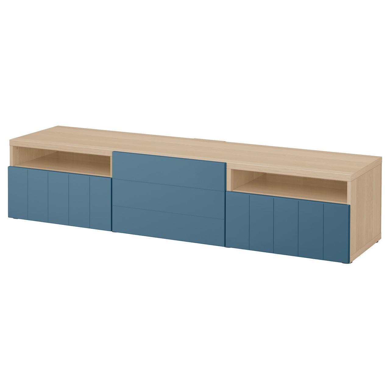 IKEA BESTA Тумба под телевизор, белый стаинедед дуб, Hallstavik синий  (992.044.04)