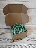 Коробка 205*205*125 мм крафт для подарка с мятным наполнителем , для сувенира, для мыла, косметики