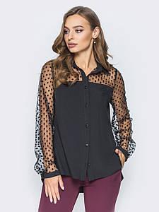 (S, M, L, XL) Вечірня жіноча сорочка прикрашена сіточкою в горох Hizer