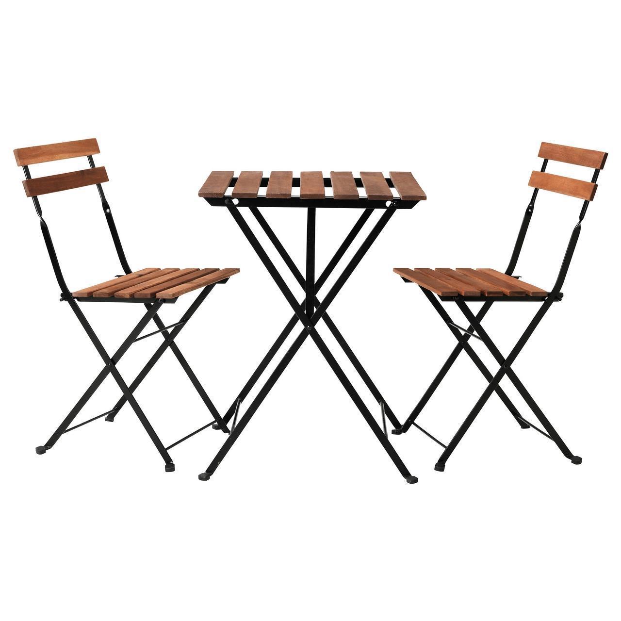 IKEA TARNO Садовый стол и 2 стула, черная Акация, сталь серо-коричневая (698.984.15)