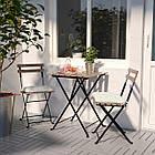IKEA TARNO Садовый стол и 2 стула, черная Акация, сталь серо-коричневая (698.984.15), фото 3