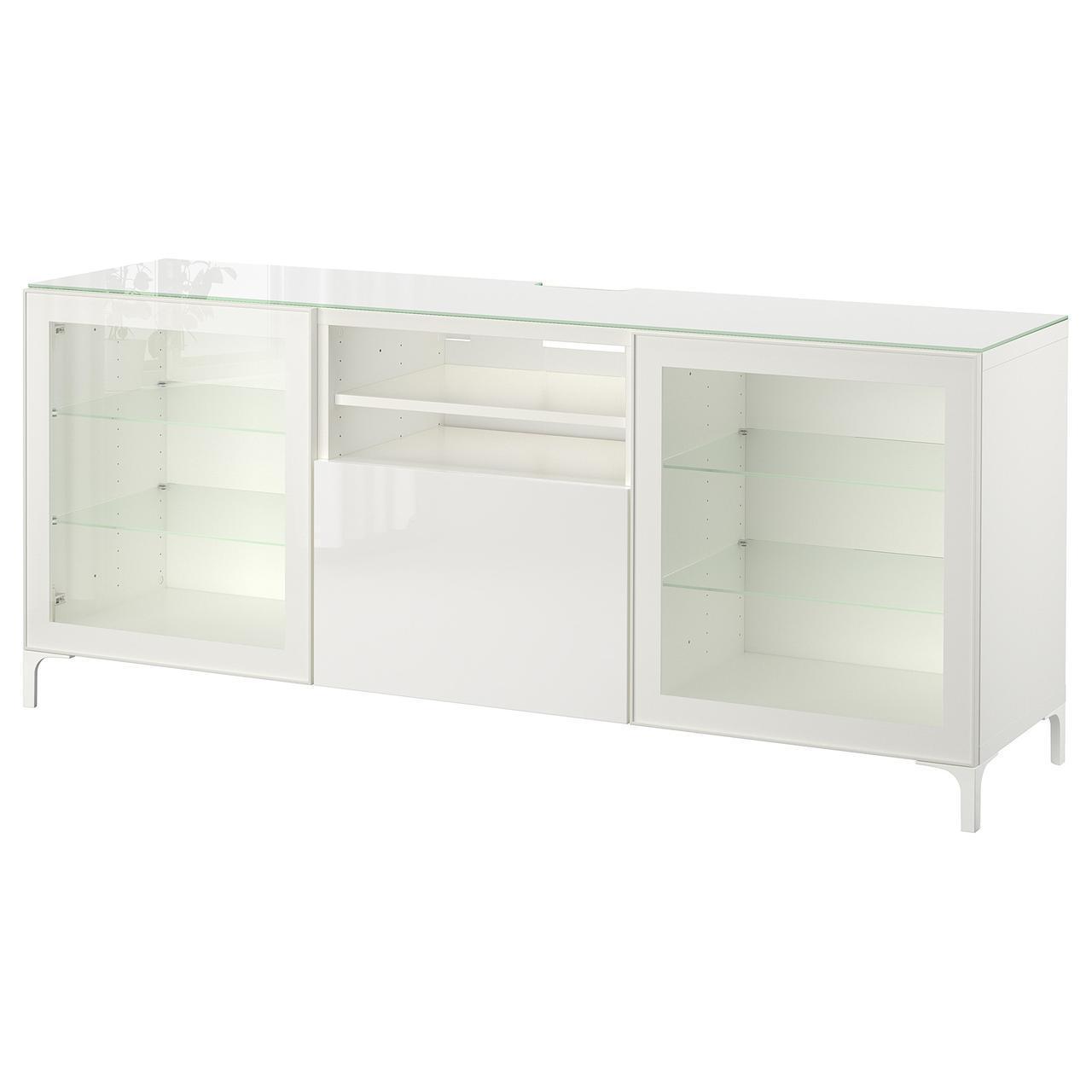 IKEA BESTA Тумба под телевизор, белый, Сельсвикен глянцевый/белый прозрачное стекло  (891.967.82)