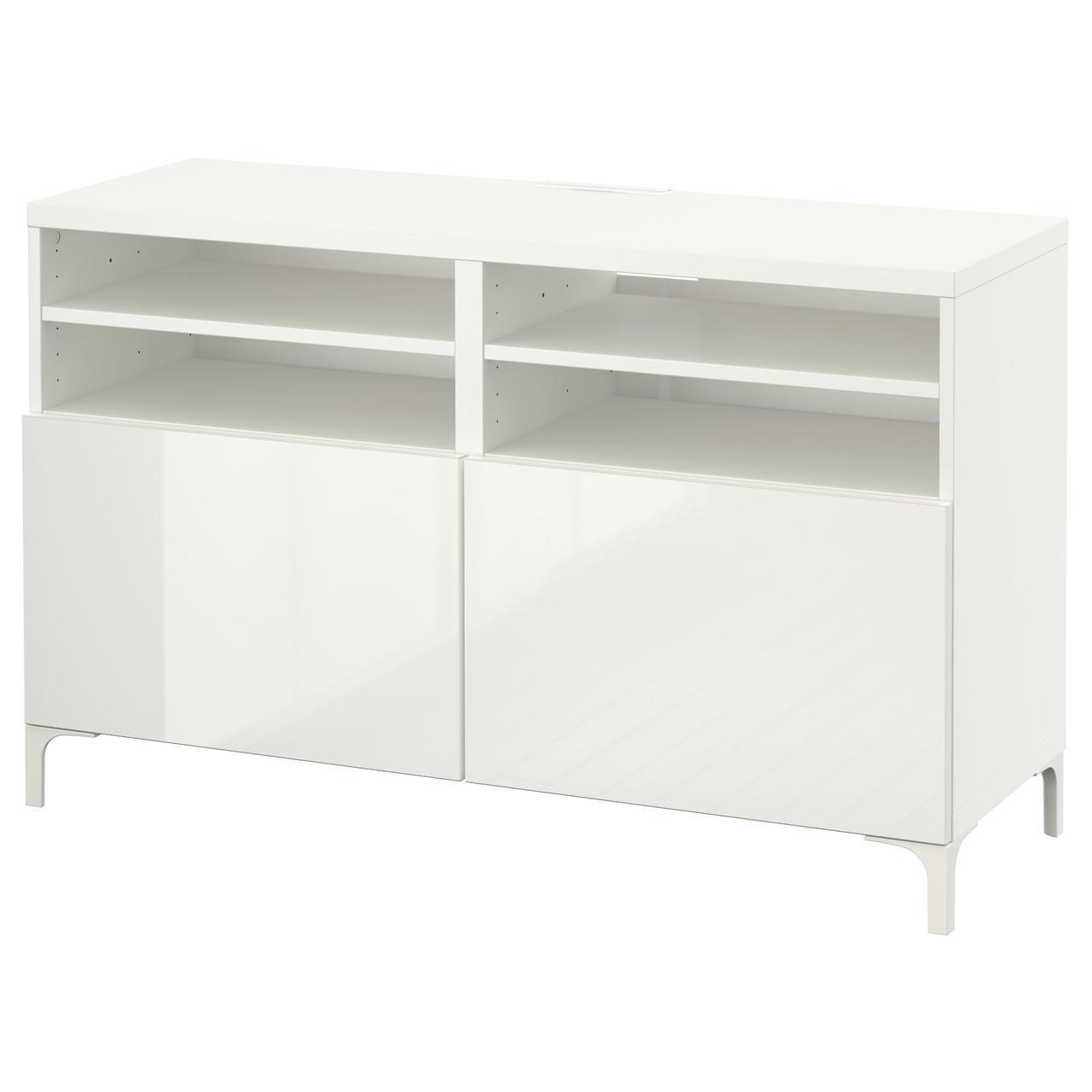 IKEA BESTA Тумба под телевизор с дверями, белый, Сельсвикен глянцевый/белый  (190.546.63)