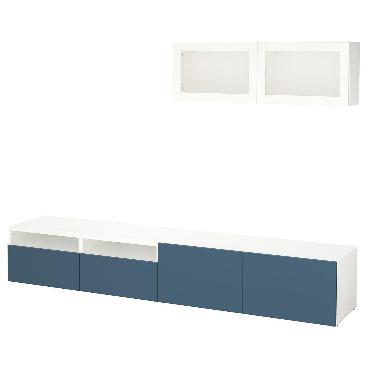 IKEA BESTA Тумба под телевизор с стеклянными дверьми, белый Вальвикен, темно-синее (892.017.50)
