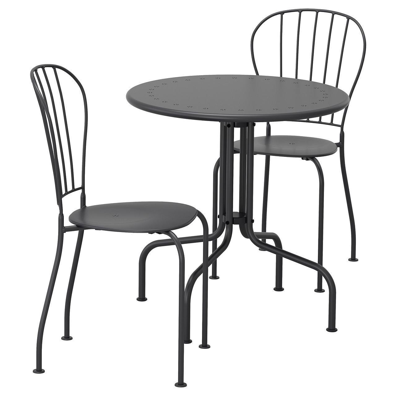 IKEA LACKO Садовый стол и 2 стула, серый  (498.984.35)