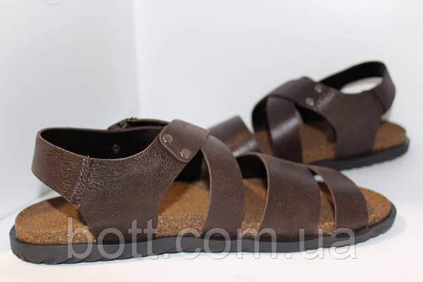Босоножки кожаные коричневые, фото 3