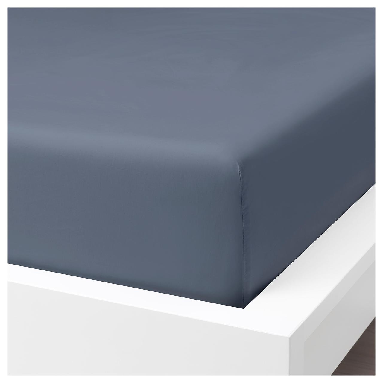 IKEA SOMNTUTA Простыня с резинкой, синий-серый  (304.127.59)