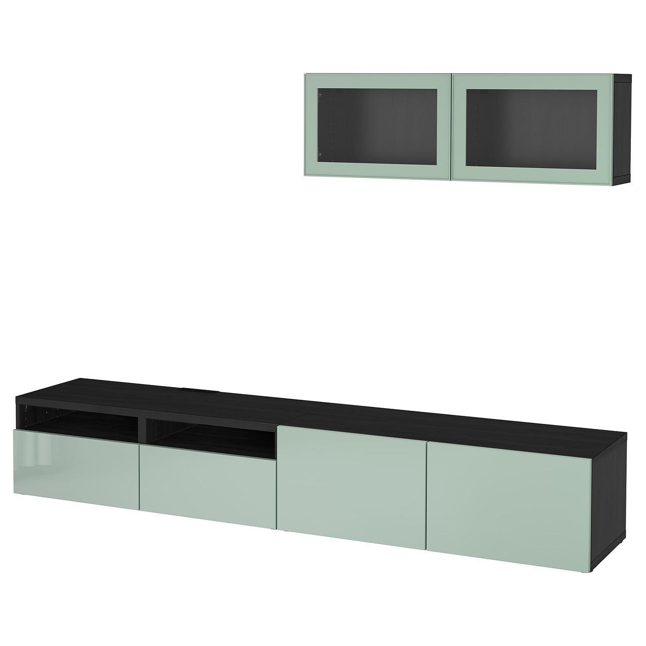 IKEA BESTA Тумба под телевизор с стеклянными дверьми, черно-коричневый (092.017.06)