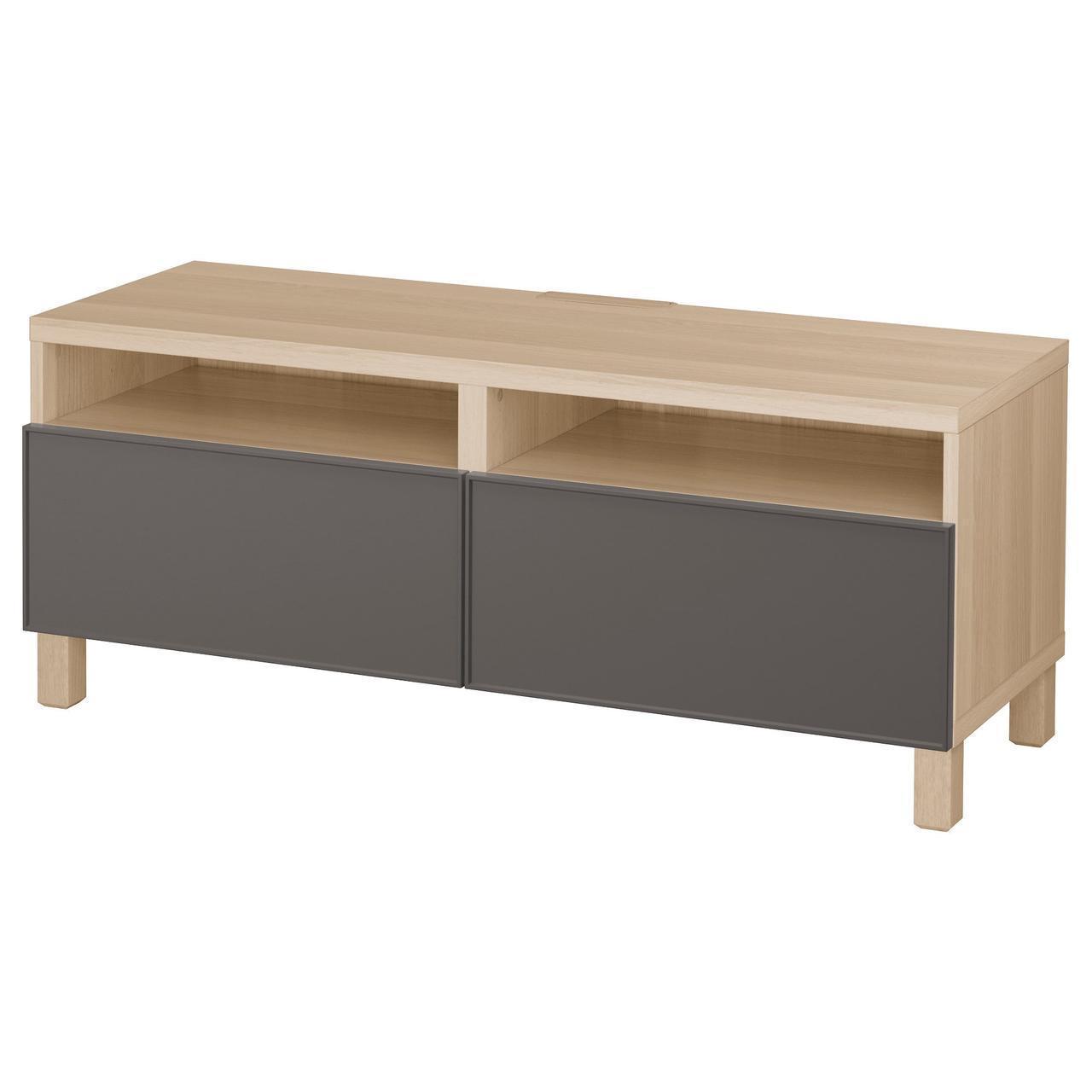 IKEA BESTA Тумба под телевизор с ящиками, белый дуб, Грундсвикен темно-серый  (592.008.70)