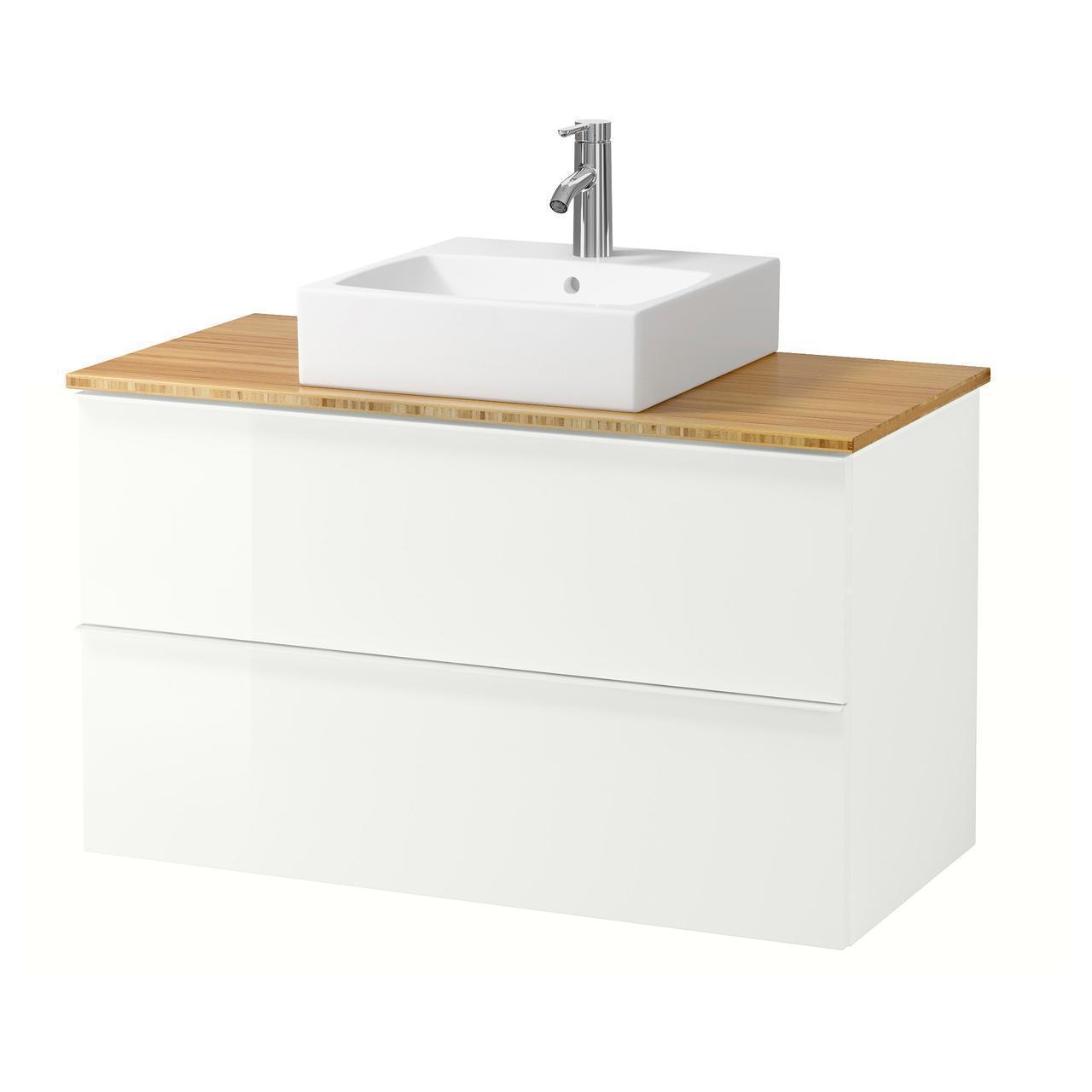 IKEA GODMORGON/TOLKEN/TORNVIKEN Шкаф под умывальник с раковиной, глянцевый белый, бамбук  (691.853.79)