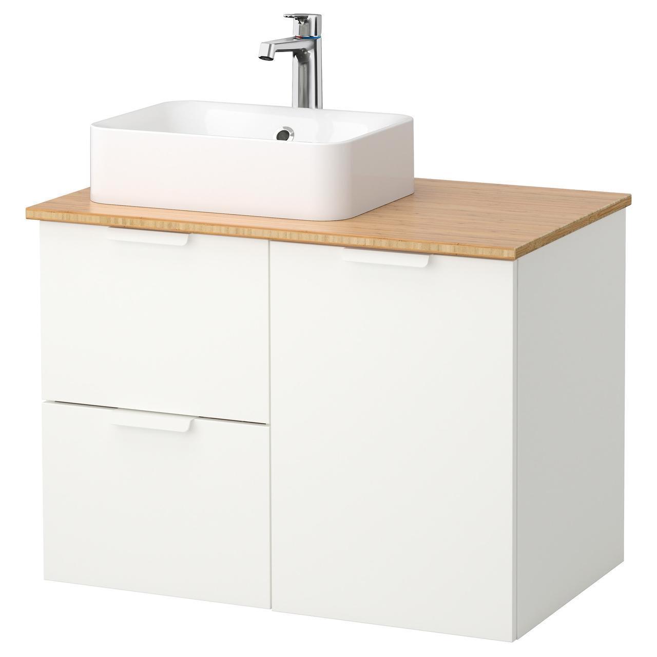 IKEA GODMORGON/TOLKEN/HORVIK Шкаф под умывальник с раковиной 45x32, белый, бамбук  (092.083.07)