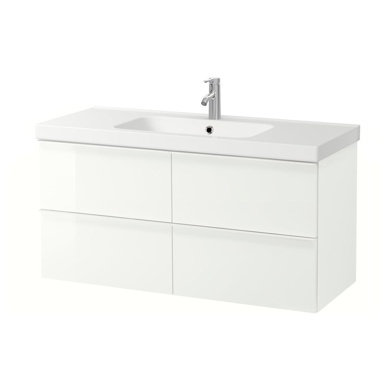 IKEA GODMORGON/ODENSVIK Шкаф под умывальник с раковиной с 4 ящиками, глянцевый белый  (591.854.69)