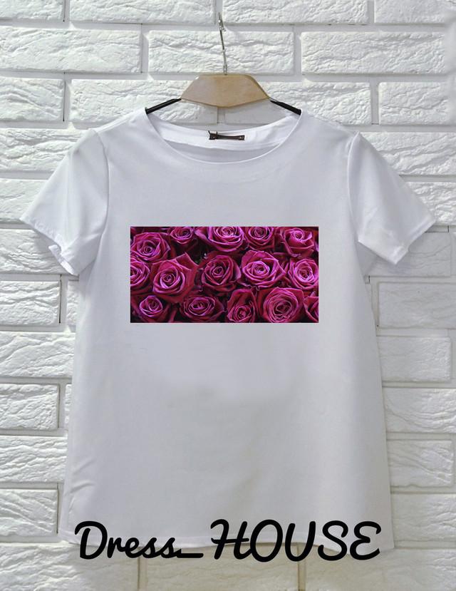 Женская футболка с принтом розы