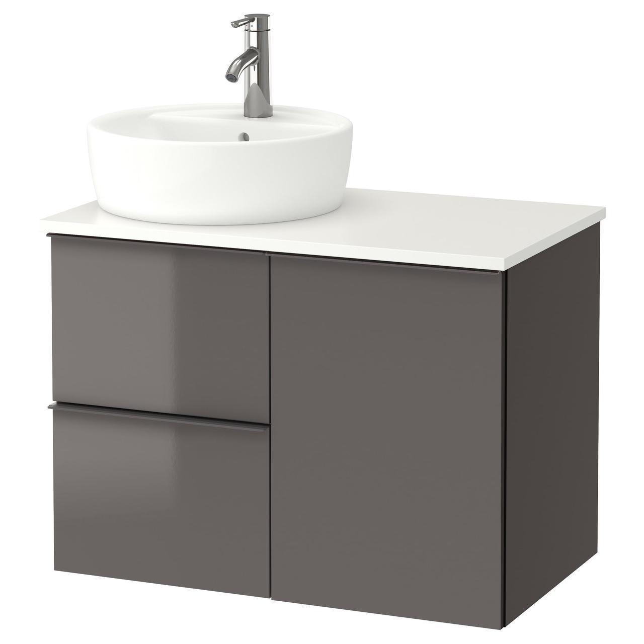 IKEA GODMORGON/TOLKEN/TORNVIKEN Шкаф под умывальник с раковиной 45 см, глянцевый серый, белый  (491.931.77)
