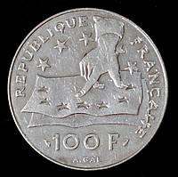 Серебряная монета Франции 100 франков 1991 г. Рене Декарт.