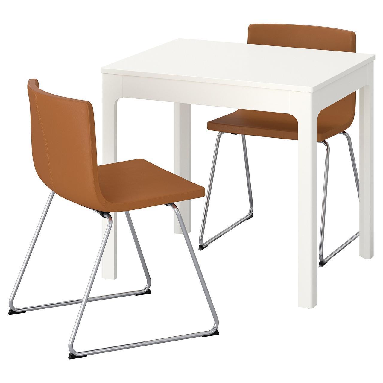 IKEA EKEDALEN/BERNHARD Стол и 2 стула, белый, Мжук золотисто-коричневый  (092.806.90)