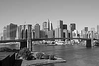 Фотообои флизелиновые 3D город Нью-Йорк 375х250 см черно-белый Манхэттен (MS-5-0010)
