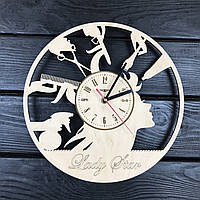 Круглые большие деревянные часы в парикмахерскую, фото 1