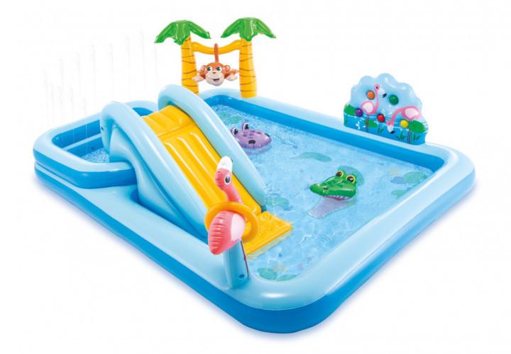 Надувной игровой центр Intex «Приключения джунглей» 57161 (257*216*84 см) с горкой,надувные пальмы, фламинго