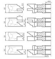 Фрезы для изготовления  мебельных фасадов с остеклением 15-02 (4 фрезы)