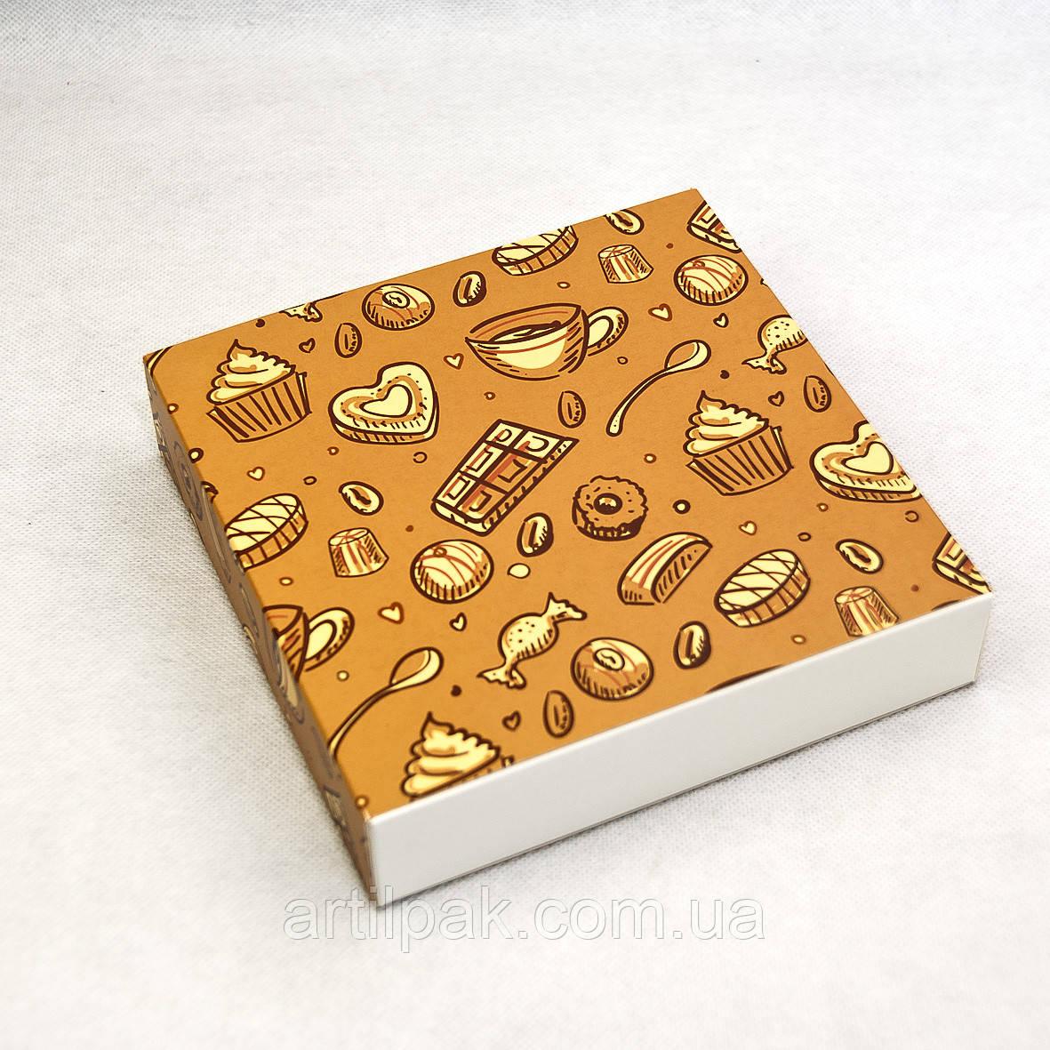 Коробка для 16 цукерок 185*185*42 фон ТЕМНИЙ