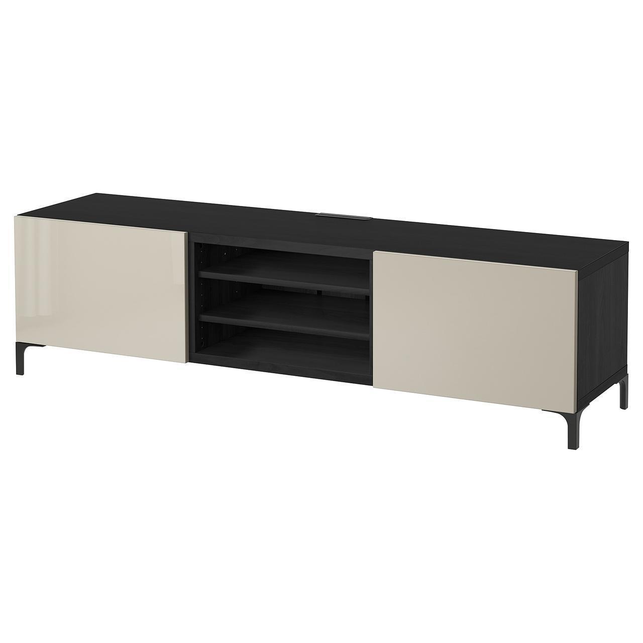 IKEA BESTA Тумба под телевизор с ящиками, черно-коричневый, Сельсвикен (791.886.31)