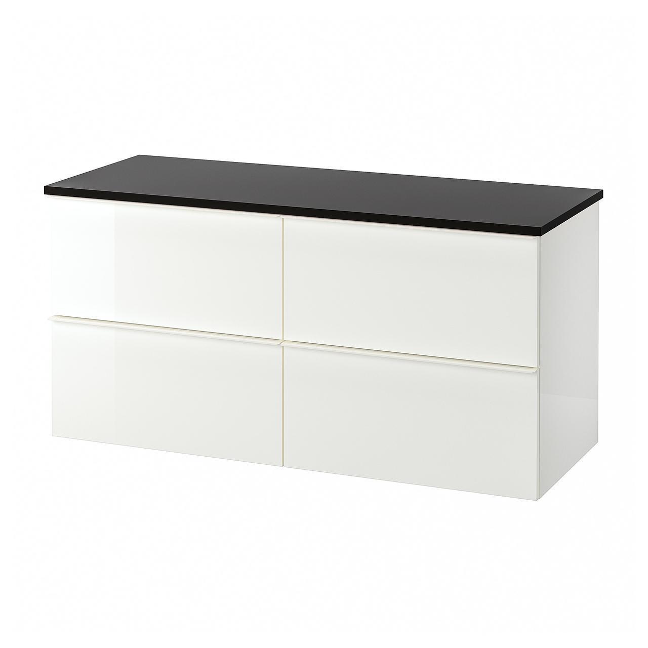 IKEA GODMORGON/TOLKEN Шкаф под умывальник со столешницей, глянцевый белый, антрацит  (692.956.03)