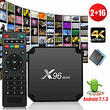 X96 mini Smart TV, android TV box, IPTV, android 7 TB приставка + smart пульт. 8 ядер, 1/16 Gb + подарунок