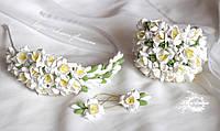 """Свадебный комплект украшений """"Белые фрезии"""" (серьги+обруч+браслет), фото 1"""