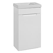 Тумба под раковину для ванной комнаты Симпл-Белый 40-01 подвесная (правая) с умывальником Комо 40  ПИК
