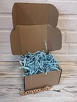 Коробка 250*250*100 мм крафт для подарка с голубым наполнителем , для сувенира, для мыла, косметики, пряника