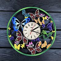 Цветные настенные часы из дерева «Вальс бабочек», фото 1